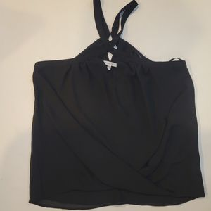 Naked zebra black halter  top blouse size medium